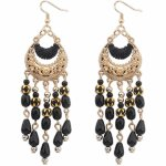P110434 Black dangling beads bohemian korean earrings malaysia