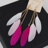 C0150732114 Pink white feather dream catcher korean earrings