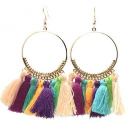 A-SD-Colourful5 Elegant Round Colourful Tassel Earrings Shop