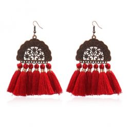 A-HH-HQEF1028red Red Vintage Moon Tassels Hook Earrings
