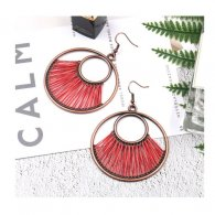 A-HH-HQEF1172(red) Hawaii Round Copper Red Hook Earrings