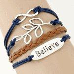 C09060220 Believe leave blue brown friendship bracelet malaysia