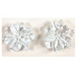 A-MSY-426E1 White Flower Double Petals Simple Earstuds Malaysia