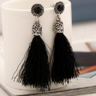 A-H2-106E370 Black Bead Antique Silver Inspired Tassel Earstuds
