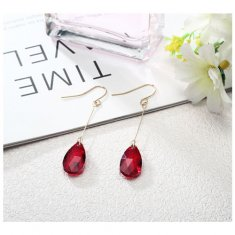 A-LG-ER0422red Clear Red Dangling Sparkling Crystal Hook Earring
