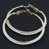 C09051896 White Arabian Boehmian Beads Gold Hoop Earrings