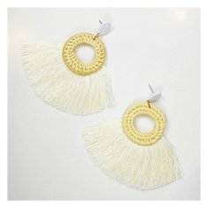 A-FX-E6115white White Tassel Round Hoop Rattan Bali Earrings