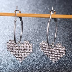 A-LG-ER0104B Heart Shiny Diamond Ring Hoops Korean Earstuds Shop