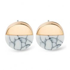 A-JW-6963 White Trendy Circle Marble Gold Side Fashion Earstuds
