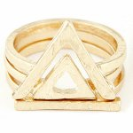 C0140306109 Gold triple triangle ring set korea chunky ring shop
