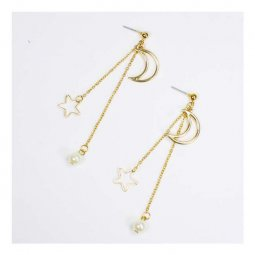 A-OSD-20180314 Golden Moon & Dangling Pearl & Star Earrings