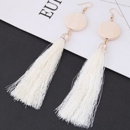 C090433218 White Tassel Wooden Bohemian Hook Earrings