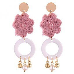 P131378 Pink Flowers With Gold Semicircle Earstuds