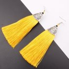 A-SD-ER102008 Yellow Tassel Antique Bohemian Hook Earrings