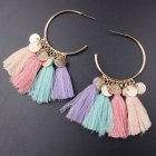 A-SD-EH0218 Colourful Romantic Soft Round Tassel Earrings