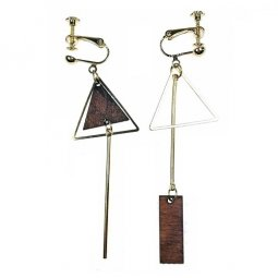 A-TT-39wooden Triangle Wooden Korean Gold Earring Earplug