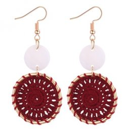 P131009 Maroon Dreamcatcher Bohemian Hook Tassel Earrings