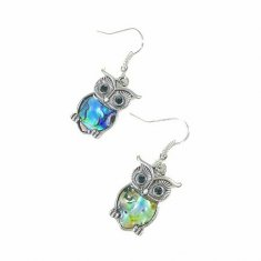 B-FFOM-E39- Silver Blue Green Diamond Owl Earrings
