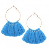 A-QD-E1131blu Blue Round Tassel Earrings Wholesale Shop