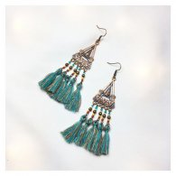 A-HH-HQEF10234 Blue Brown Threads Triangle Copper Earrings
