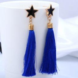 A-H2-E357blue Blue Star Charm Tassel Korean Inspired Earstuds