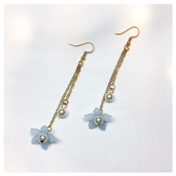A-LG-ER0443(blue) Blue Flower White Pearl Korean Earrings