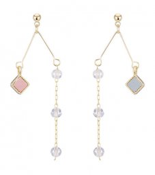 A-TT-421 Two Diamond Beads of Pink & Blue Dangling Korean Style