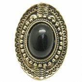 C10111403 Black bead oval vintage chunky ring malaysia