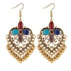 P131285 Colourful Stone Love Pattern Tangling Bell Hook Earrings