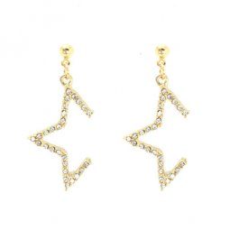 A-LG-ER0520(GOLD) Golden Crystal Star Korean Style Earstuds