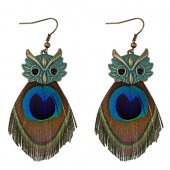 A-DW-HQE463owl Vintage Owl Peacock Feather Hook Earrings