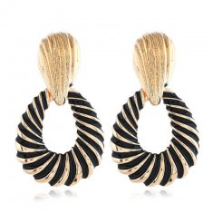 A-FF-ED-223 Egyptian Style Black & Gold Statement Earrings Trend