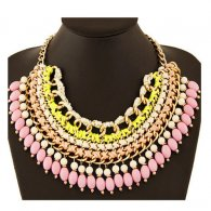 A-HY-N463 Pink Dangling Beads Bohemian Gold Statement Necklaces