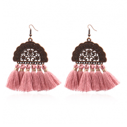 A-HH-HQEF1028Dusty Dusty Pink Artsy Copper Carving Earrings