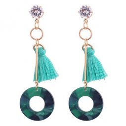 P130451 Green Cateye Mint Tassel Korean Inspired Earstuds