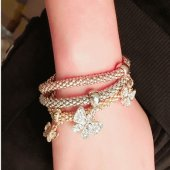C100922124 Shiny butterfly charms elastic charm bracelet