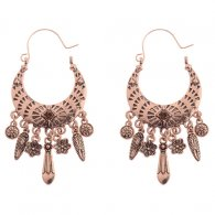 A-DW-HQE769 Vintage Bronze Antique Dangling Flowers Hook Earring