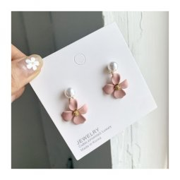 A-TT-351 Matte Dusty Pink Flower Korean Trendy Fashion Earstuds