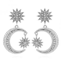 C0150712196 Silver Crystals Star Moon Korean Inspired Earstuds