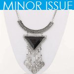 C10123063 Black triangle dangling charms statement necklace shop