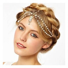 A-GH P111395 White Bead Dangling Victorian Princess Headchain