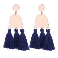 P130121 Navy Blue Geometry Elegant Korean assel Earstuds