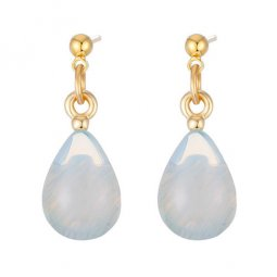 A-TT-WATERDROPS Milky White Stone Waterdrop Shape Korean Earstud