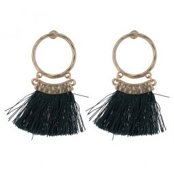 P133004 Black Short Tassels Gold Circle Ring Earstuds Shop