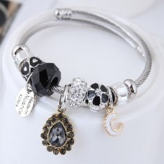 C100707110 Black Stones and Beads C Silver Adjust Charm Bangle