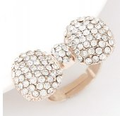 C090528140 Gold Shiny Crystals Bow Inspired Korean Ring Accessor