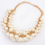 P107569 Pearl chunky gold statement necklace rantai borong murah