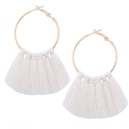 A-QD-E1131w White Round Tassel Ring Bohemian Earrings