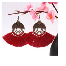 A-HH-HQEF-249 red elegant tassel earrings malaysia