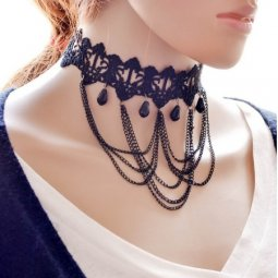 A-Q-Q8207 Black lace tardrop bead tattoo choker malaysia shop